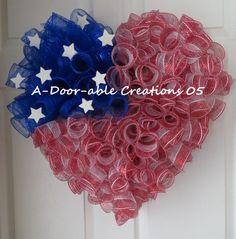 I HEART/LOVE AMERICA..Patriotic Deco Mesh by ADoorableCreations05