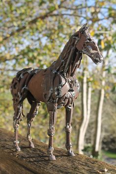 Greetings Card - Photo of Original Scrap Metal Sculptures - Horse - A5 - 100% Bio-Degradable - Natural Inks by GreenHandSculpture on Etsy