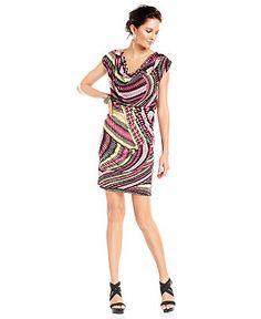 Alfani Dress, Cap-Sleeve Printed Cowl-Neck Sheath - Womens Dresses - Macy's
