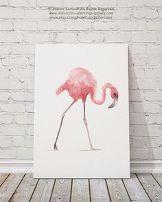 Pink Flamingo Set of 2 Watercolor Paintings. Two Birds Nursery Wall Decor. Pink Abstract Painting Gift Idea. Flamingos Watercolor Illustration Home Decor. The price is for a set of 2 watercolor paintings as shown on the first photo.  Type of paper: Prints up to (42x29,7cm) 11x16 inch size are printed on Archival Acid Free 270g/m2 White Watercolor Fine Art Paper and retains the look of original painting. Larger prints are printed on 200g/m2 White Semi-Glossy Poster Paper.  Colors: A...