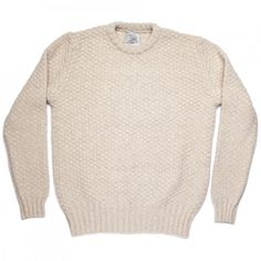 The perfect cold weather casual sweater. Perfect with jeans and a Macintosh, flannels and a Barbour or under a duffel coat. Four different colours of Scottish lambswool are used in every sweater to create a deep and rich look. The basketweave adds a great texture. Knitted by Johnstons of Elgin, one of the greatest knitwear manufacturers in the world, located in Hawick, Scotland.