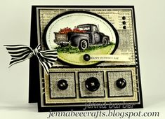 Fathers Day Card, old pickup full of apples by celia