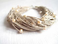 June Birthstone Jewelry Natural Pearls Linen by DreamsFactory, $30.00