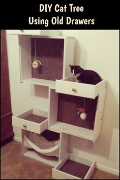 Upcycle your old old drawers and turn them into a cat tree for your beloved pets.