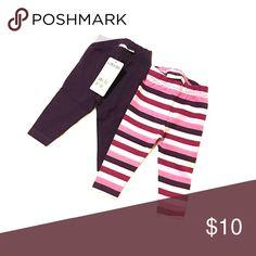 JoJo Maman Bébé leggings Two pack leggings 3-6 months. Mulberry :1 solid and 1 stripe Bottoms Leggings