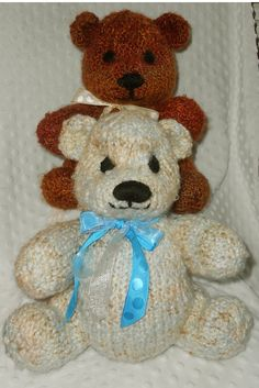 Hand knit Bears by B & B Kniddling. All Kniddles help support Alzheimers Research. http://www.etsy.com/shop/Kniddlings