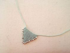Items similar to Makrame necklace triangle made with light turquoise green waxed thread and silver beads Collar Macrame, Macrame Colar, Macrame Earrings, Micro Macrame, Macrame Jewelry, Handmade Necklaces, Handmade Jewelry, Pin Weaving, Fabric Origami