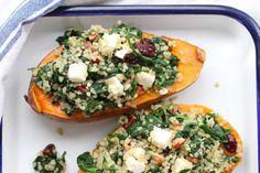 Zoete aardappel met spinazie en quinoa