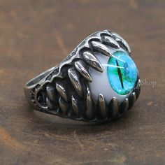 Men's Punk Biker Dragon Teeth Turquoise Green Cat Eye 316L Stainless Steel Eyeball Ring Halloween Party Fake Eye Wholesale