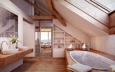 Exquisite Attic renovation with dormer,Attic bedroom paint and Attic remodel insulation. Small Attic Bathroom, Large Bathrooms, Loft Bathroom, Bathroom Plumbing, Bathroom Bath, Attic Shower, Narrow Bathroom, Bath Tub, Attic Renovation