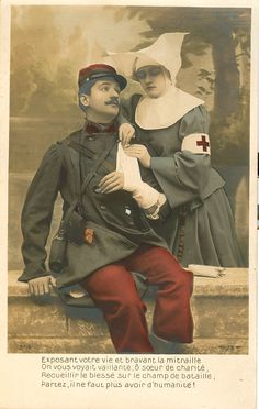 WWI WW1 Post Card Zouave Uniform Wounded Photography by J K Hillers 1843 1925