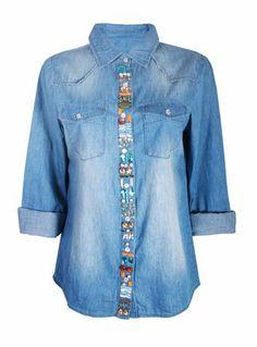 PPB embellished denim shirt