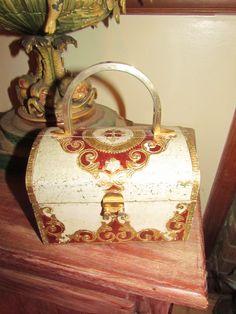 Vintage Florentine Red Gold Gilt Italy Italian Wooden Wood Purse. eBay $650.