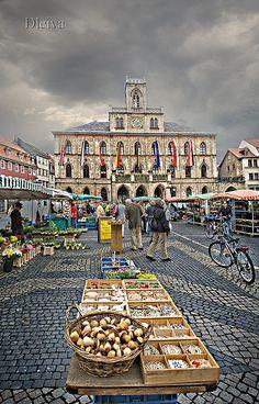 Weimar market in Deutschland, Thüringen_ Germany