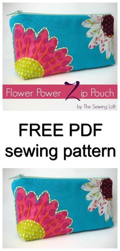 FREE PDF bag sewing pattern. Flower zipper pouch pattern. Not sure what to do with leftover fabric scraps? How about turning them into a small wallet. This mini wallet is the perfect size for a few credit cards or even some ice cream money!