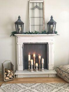 My Five Home Decor Essentials – Farmhouse Blooms – Farmhouse Fireplace Mantels Faux Fireplace Mantels, Fireplace Frame, Vintage Fireplace, Candles In Fireplace, Bedroom Fireplace, Farmhouse Fireplace, Fireplace Surrounds, Fireplace Design, Victorian Fireplace