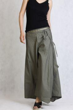 Gray linen flares / pants /split skirt Low Rise  QK008 by angeldew, $34.99