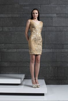 Style 43 I V-Neckline fitted Gold cocktail dress in embroidered Tulle and Guipure leaves