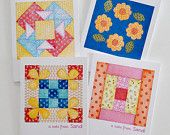 handcrafted Quilt Block Note Cards ... printed from artist's own watercolor paintings ... bright and happy ... by Jaquelynne on Etsy ...