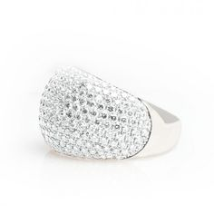 White gold pavé-set ring with colorless diamonds.
