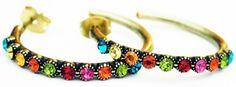 Michal-Negrin-Multicolor-Swarovski-Crystals-Row-Hoop-Earrings