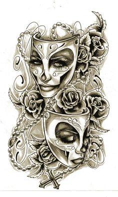 Drama mask tattoo design                                                                                                                                                      More