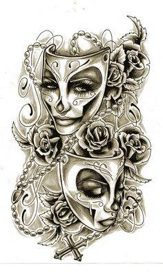 Drama mask tattoo design