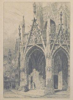 Pinet Charles - etching - Rouen, Porche St Maclou - 28.7x19.7cm (etching)