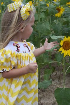 Smocked Yellow Chevron Fall Dress by Southern Cotton Boutique Shades Of Yellow, Yellow And Brown, Mellow Yellow, Yellow Chevron, Pink Blue, Sunflowers And Daisies, Sun Flowers, Yellow Cottage, Rose Cottage