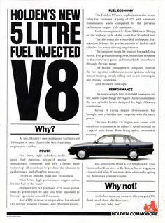 1990 VN Holden Commodore 5 Litre Sedan Page 2 Aussie Original Magazine Advertisement Australian Muscle Cars, Aussie Muscle Cars, Holden Muscle Cars, Holden Australia, Holden Monaro, Holden Commodore, Fuel Injection, All Cars, Fuel Economy