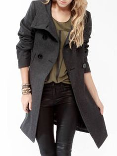 This double-breasted coat will have you looking all buttoned up when it's closed, and give you a cool-girl chic vibe when it's open. Roll up the sleeves for added toughness. Forever 21 Heavy Wool-Blend Coat, $47.80, forever21.com