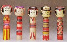 Various Yajiro kokeshi