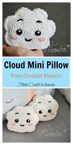 cute Crochet 58265388916023799 - Cute Cloud Mini Pillow Free Crochet Pattern Source by reffard Beau Crochet, Crochet Diy, Crochet Pillow, Crochet Home, Crochet Gifts, Crochet Headbands, Crochet Ideas, Crochet Mignon, Crochet Cushions