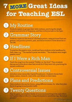 7 Great Ideas For Teaching ESL - can also be used as writing assignments for elementary students