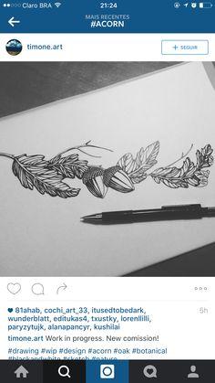 Perfect Tattoo black ink acorn