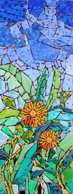 Hand painted tiles used to create this mosaic inspired but the Cornish landscape