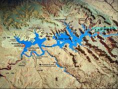Lake Powell Oblique Map - lake powell • mappery