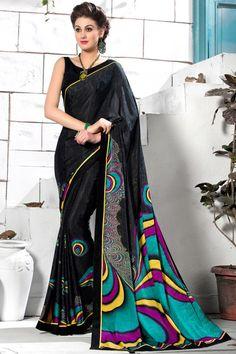 #Black #Crepe-Silk #Saree with Blouse - Digital Print