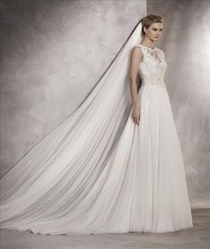 Atlantis | Bridal | Pronovias | Available at Lulu's Bridal Boutique | Lulu's Bridal | Dallas, Texas | Sheath | A Line | Illusion Top | V Back | Organza | Flowy | Cap Sleeve | Straps | Lace |