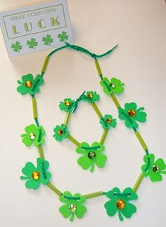 St. Pat's Jewelry Craft with Free Printable - pinned by @PediaStaff – Please Visit  ht.ly/63sNt for all our pediatric therapy pins