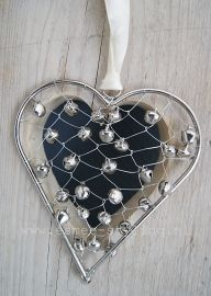 Double heart ornament: dark blue with beaded silver overlay