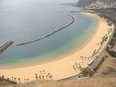 Playa de las Teresitas with golden sand brought from the Sahara desert, Santa Cruz de Tenerife