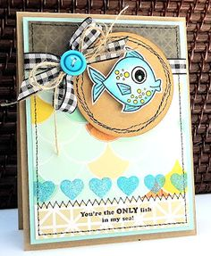 Jinny Newlin for Wplus9 featuring Hooked on You stamp set.  (Pin#1: Sea Life/... Pin+: Children: Girls).