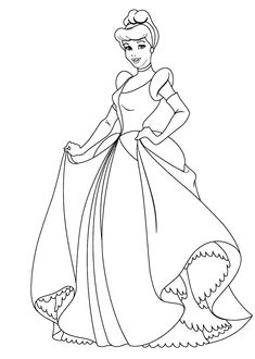 Cinderella princess coloring pages for kids, printable free