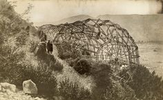 A wrecked Zeppelin sits ashore in Mison, France, 1918.Photograph...