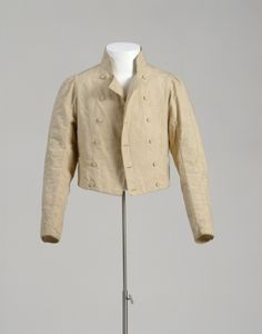 Man's spencer jacket, cotton and linen lined with cotton and linen, c. 1810-20.