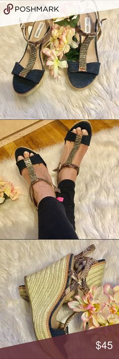 """Steve Madden wedge Sandel Steve Madden wedge Sandel with rhinestones and snake skin strap And blue jeans material. Gently used. No box. In excellent condition. Wedge heel is approx 41/2"""". Size 10 Steve Madden Shoes Wedges"""