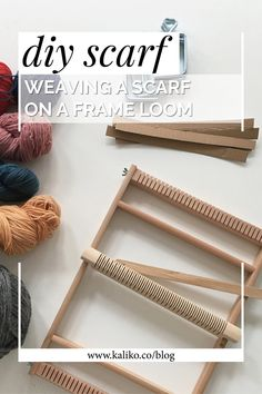 How to weave a scarf on a frame loom — kaliko Weaving Loom Diy, Weaving Art, Finger Weaving, Loom Scarf, Diy Scarf, Weaving Process, Weaving Techniques, How To Make Scarf, How To Weave