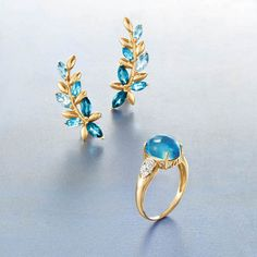 All things chic. To give or to keep.  Blue Topaz Floral Vine Ear Climbers & Swiss Blue Topaz Ring with Diamond Accents in 14kt Yellow Gold, Item no.  849758 , 848346. > Shop Blue Topaz Jewelry #RossSimons