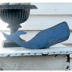 Moby Blue Sperm Whale Fish Ocean Nautical Decor by SlippinSouthern, $39.00